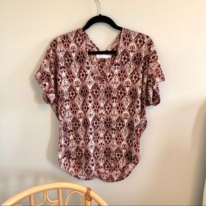 Lush XS Boho Burgundy Top Blouse V neck Shirt